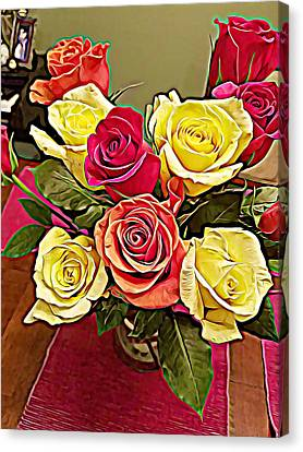 Red And Yellow Rose Bouquet Canvas Print