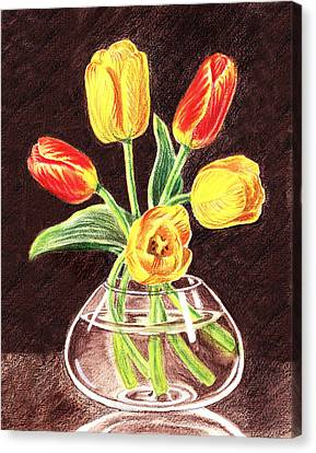 Red And Yellow Tulips Bouquet Canvas Print