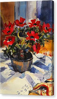 Red Anemones Canvas Print by Sue Wales