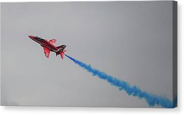 Canvas Print featuring the photograph Red Arrow Blue Smoke - Teesside Airshow 2016 by Scott Lyons
