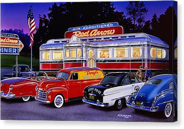 Old American Truck Canvas Print - Red Arrow Diner by Bruce Kaiser