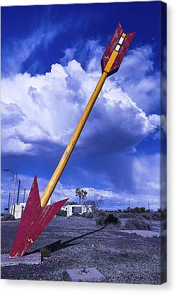 Red Arrow With Clouds Canvas Print