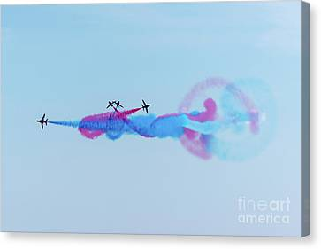 Canvas Print featuring the photograph Red Arrows Break by Gary Eason