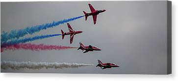 Canvas Print featuring the photograph Red Arrows Break Off - Teesside Airshow 2016 by Scott Lyons