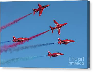 Canvas Print featuring the photograph Red Arrows Enid Break by Gary Eason