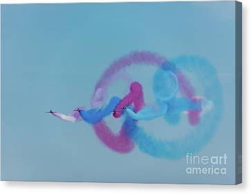 Canvas Print featuring the photograph Red Arrows Gypo Swirls by Gary Eason
