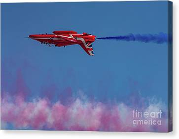 Canvas Print featuring the photograph Red Arrows Hawk Inverted  by Gary Eason