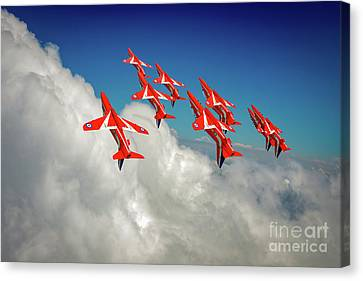 Canvas Print featuring the photograph Red Arrows Sky High by Gary Eason