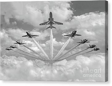 Canvas Print featuring the photograph Red Arrows Smoke On Bw Version by Gary Eason