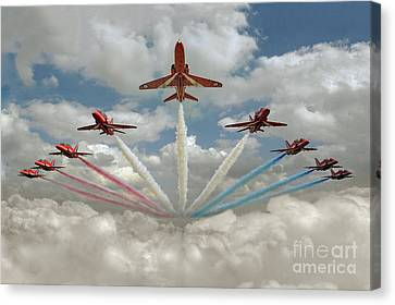 Canvas Print featuring the photograph Red Arrows Smoke On  by Gary Eason