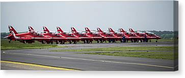 Canvas Print featuring the photograph Red Arrows - Teesside Airshow 2016 Aircraft Check by Scott Lyons