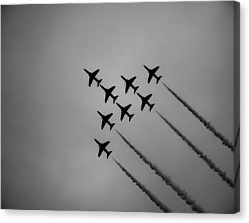 Canvas Print featuring the photograph Red Arrows - Teesside Airshow 2016 Silhouette by Scott Lyons