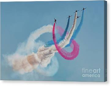 Canvas Print featuring the photograph Red Arrows Twister by Gary Eason