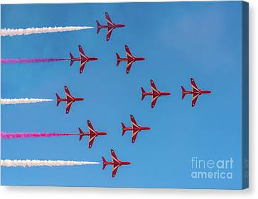 Canvas Print featuring the photograph Red Arrows Typhoon Formation by Gary Eason