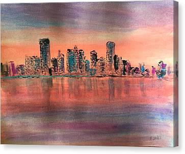 Red At Dawn In Miami Canvas Print