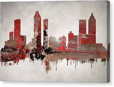 Red Atlanta Georgia Skyline Canvas Print by Dan Sproul