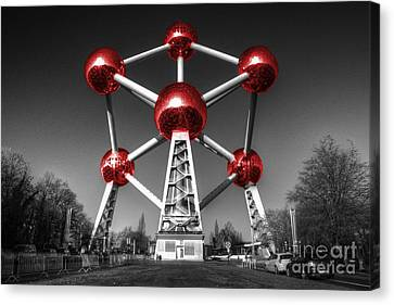 Bruxelles Canvas Print - Red Atomium by Rob Hawkins