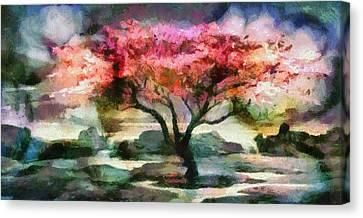 Red Autumn Tree Canvas Print by Mario Carini