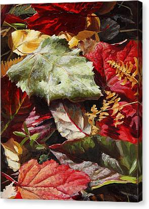 Canvas Print featuring the painting Red Autumn - Wasilla Leaves by Karen Whitworth