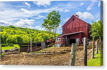 Canvas Print featuring the photograph Red Barn And Cows by Paula Porterfield-Izzo