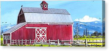 Red Barn And Mt Baker Canvas Print by Bob Patterson