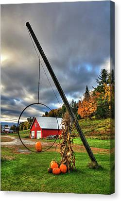 Red Barn And Pumpkins In Autumn - Vermont Canvas Print