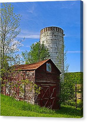 Canvas Print featuring the photograph Red Barn And Silo by Paula Porterfield-Izzo