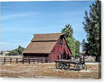 Red Barn And Wagon Canvas Print