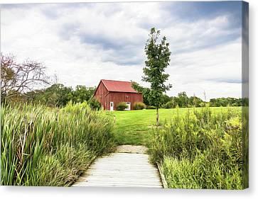 Farming Barns Canvas Print - Red Barn At Dawes Arboretum by Tom Mc Nemar