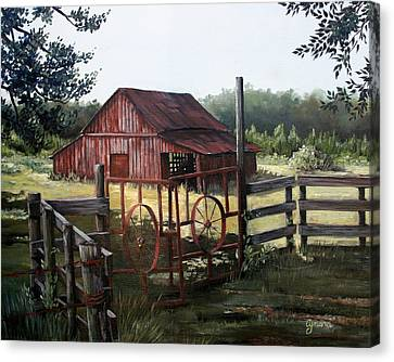 Gate Canvas Print - Red Barn At Sunrise by Cynara Shelton