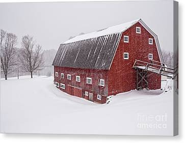 Red Barn Blizzard New Hampshire Canvas Print