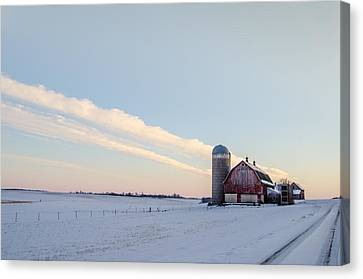 Canvas Print featuring the photograph Red Barn by Dan Traun