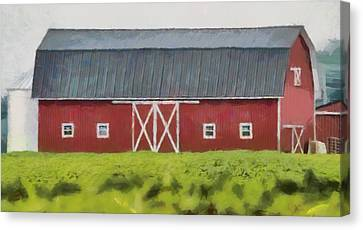 Red Barn Green Field Canvas Print by Dan Sproul