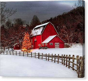 Red Barn Holidays Canvas Print by John Vose