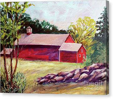 Canvas Print featuring the painting Red Barn I by Priti Lathia