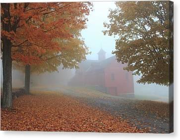 Red Barn In Autumn Fog Canvas Print