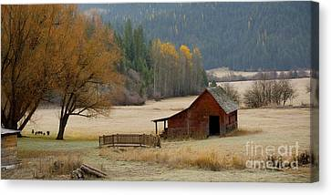 Red Barn In Autumn Canvas Print by Idaho Scenic Images Linda Lantzy