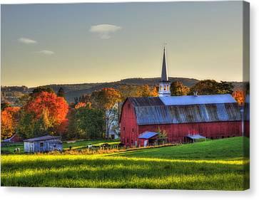 Red Barn In Autumn - Peacham Vermont Canvas Print by Joann Vitali