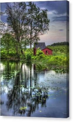 Red Barn In Country Setting Canvas Print by Joann Vitali