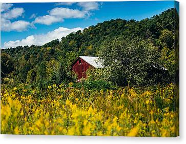 Red Barn In Early Autumn Canvas Print by Shane Holsclaw