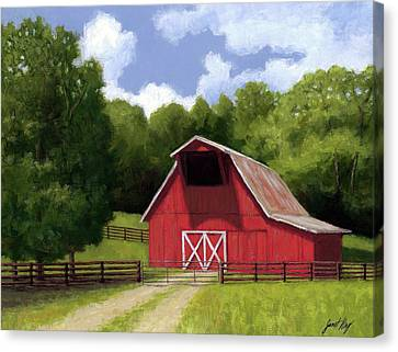 Canvas Print - Red Barn In Franklin Tn by Janet King