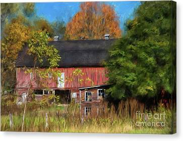 Red Barn In October Canvas Print by Lois Bryan