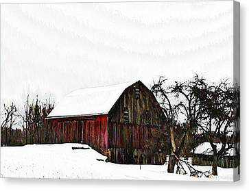 Red Barn In Snow Canvas Print by Bill Cannon