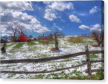Red Barn In Winter Canvas Print - Red Barn In Snow - New Hampshire by Joann Vitali