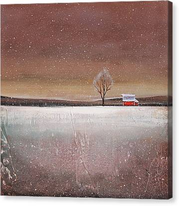 Red Barn In Snow Canvas Print by Toni Grote
