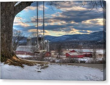 Red Barn In Snow Canvas Print - Red Barn In Snow - Vermont Farm Scene by Joann Vitali
