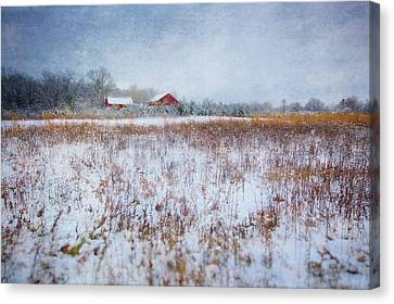 Red Barn In Snow Canvas Print - Red Barn In Snow - Winter At Retzer Nature Center  by Jennifer Rondinelli Reilly - Fine Art Photography