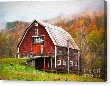 Red Barn In The Blue Ridge Mountains Canvas Print