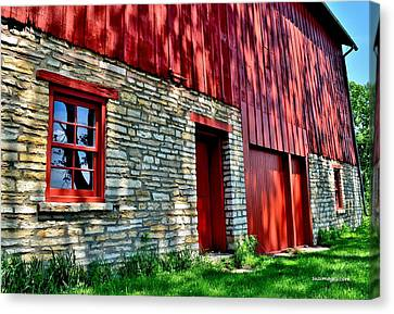 Red Barn In The Shade Canvas Print