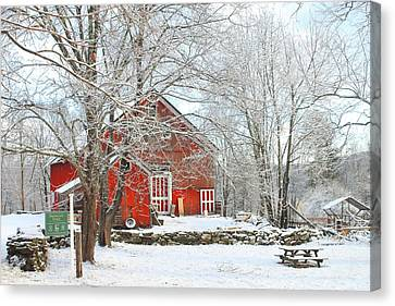 Red Barn In Winter Canvas Print by John Burk